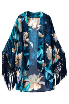 ​Blue Retro Oriental Long Tassels Bat Wing Sleeves Loose Fit Chiffon Kimono Cardigan