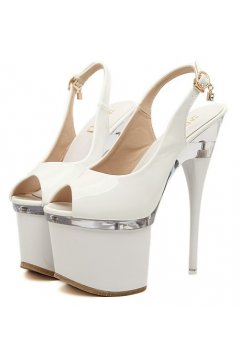 ​White Patent Leather Platform Slingback Peep Toe High Heels Stiletto Shoes