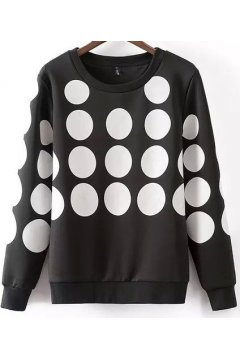 ​Black White Polkadots Long Sleeves Sweater Sweatshirt