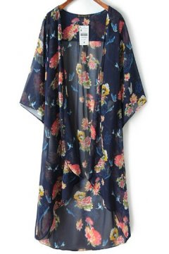 Blue Floral Bat Wing Sleeves Loose Fit Knee Length Long Chiffon Kimono Cardigan