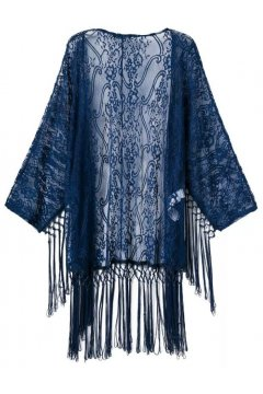 Blue White Transparent Sheer Tassels Bat Wing Sleeves Loose Fit Chiffon Kimono Cardigan