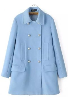 ​Pastel Baby Blue Long Sleeves Woolen Lapel Parka Jacket Blazer Coat