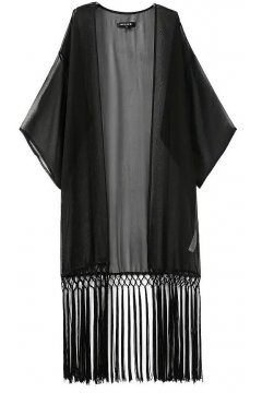 Black Bat Wing Sleeves Loose Fit Long Tassels Chiffon Kimono Cardigan