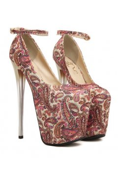 ​Red Paisley Platform Ankle Strap High Glass Heels Stiletto Shoes
