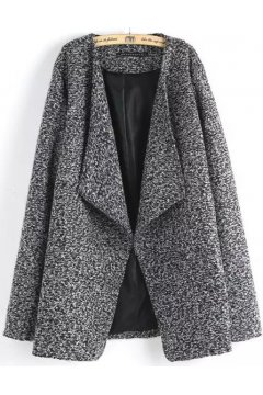 ​Grey Black Long Sleeves Woolen Lapel Parka Jacket Blazer Coat