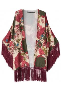 ​Burgundy Flowers Floral Retro Tassels Loose Fit Bat Wing Kimono Cardigan
