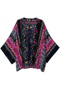 Blue Purple Tribal Ethnic Pattern Bat Wing Sleeves Loose Fit Chiffon Kimono Cardigan