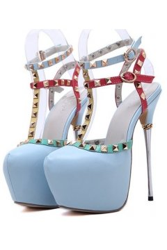 ​Blue Gold Square Studs Platform Ankle T Strap High Metal Heels Stiletto Shoes