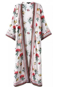 ​White Vintage Roses Knee Length Long Cotton Kimono Cardigan