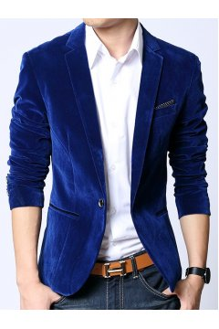Royal Blue Velvet Mens Dapper Man Long Sleeves Blazer Jacket