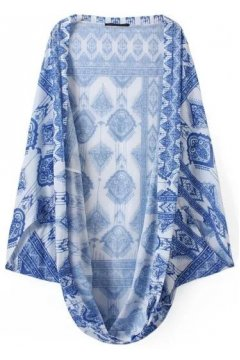 ​White Blue Tribal Ethnic Pattern Bat Wing Sleeves Loose Fit Kimono Cardigan