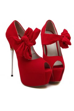 ​Red Suede Bow Peep Toe Platform High Metal Heels Stiletto Shoes