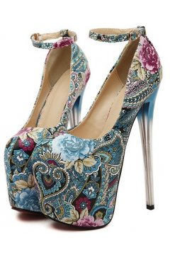 Blue Paisley Flower Platform Ankle Strap High Glass Heels Stiletto Shoes