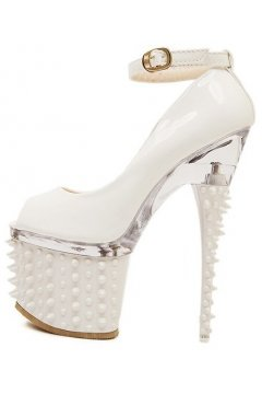 White Patent Leather Spike Platform Punk Rock High Heels Stiletto Shoes
