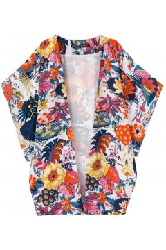 Colorful Retro Vintage Floral Bat Wing Sleeves Kimono Cardigan