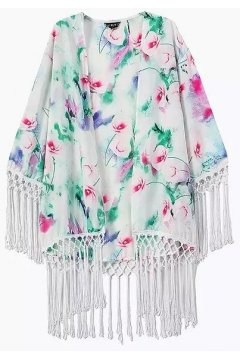 White Painting Colorful Flowers Tassels Bat Wing Sleeves Loose Fit Chiffon Kimono Cardigan
