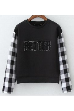 ​Black Better Checkers Sleeves Long Sleeves Sweater Sweatshirt