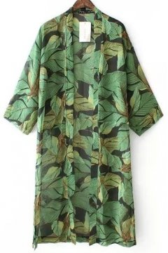 Green Leaves Bat Wing Sleeves Loose Fit Knee Length Long Chiffon Kimono Cardigan