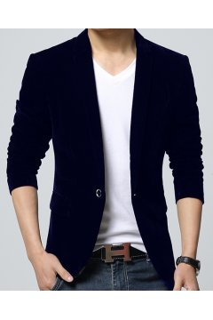Navy Blue Velvet Mens Dapper Man Long Sleeves Blazer Jacket