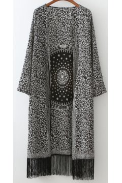 ​Black White Oriental Tassels Loose Fit Knee Length Long Chiffon Kimono Cardigan