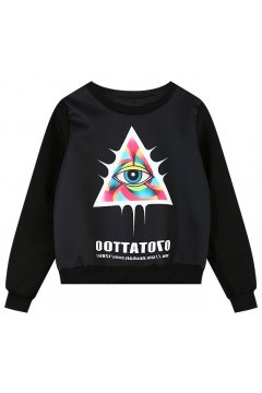 ​Eye in Triangle Black White Long Sleeves Sweater Sweatshirt