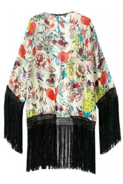 White Colorful Flowers Black Long Tassels Bat Wing Sleeves Loose Fit Chiffon Kimono Cardigan