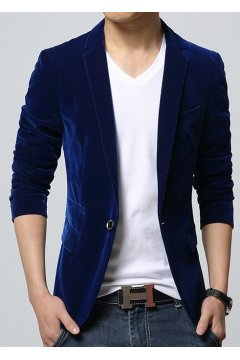 ​Royal Blue Velvet Mens Dapper Man Long Sleeves Blazer Jacket
