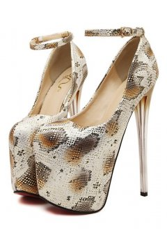 ​​White Brown Snake Skin Platform Ankle Strap High Glass Heels Stiletto Shoes