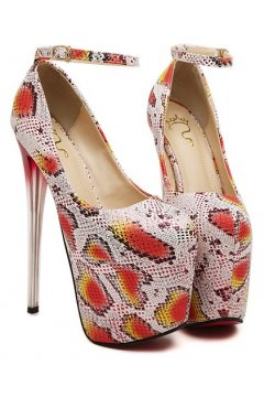 ​White Red Snake Skin Platform Ankle Strap High Glass Heels Stiletto Shoes