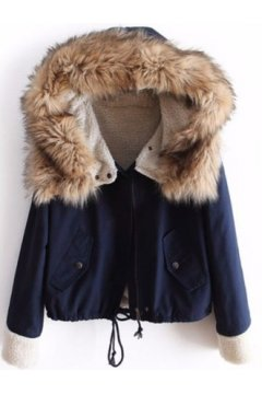 ​Blue Woolen Lapel Military Parka Cropped Jacket Coat