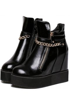Black Gold Metal Chain Puck Rock Platforms Hidden Wedges Sneakers Shoes Boots