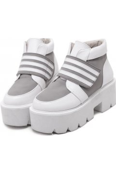 White Grey Platforms Ankle Chunky Sole Heeks Sneakers Shoes