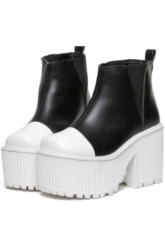 Black White Leather Punk Rock Gothic Platforms Chunky Heels Ankle Boots Shoes