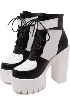 Black White Leather Lace Up Gothic Punk Rock Thick Chunky Sole Heels Platforms Sneakers Shoes