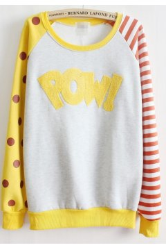​Yellow White Polkadots Polka Dots Stripes POW Fleece Long Sleeves Sweater Sweatshirt