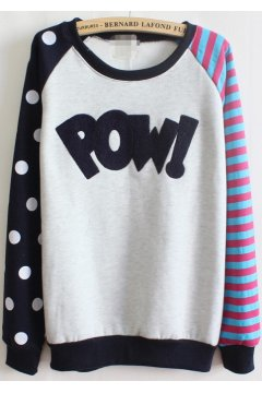 ​Black White Polkadots Polka Dots Stripes POW Fleece Long Sleeves Sweater Sweatshirt