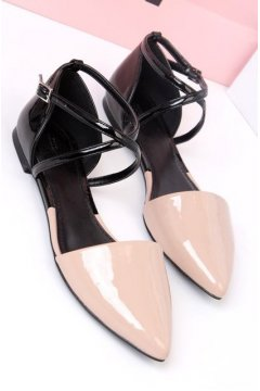 ​Pink Black Patent Leather Cross Straps Point Head Flats Sandals Ballet Shoes