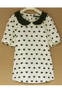 ​Cream Black Hearts Monogram Lace Peter pan Collar Short Sleeves Shirt Blouse
