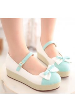 ​Patent Leather Pastel Bow Cute Round Head Ballet Flats Platforms Ballerina