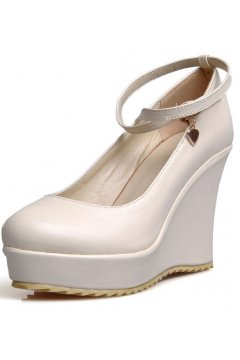 ​White Leather Platforms Ankle Cross Straps Round Heed Wedges Shoes