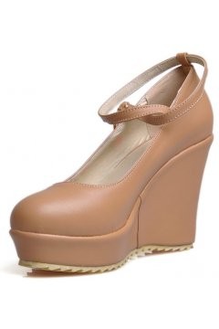 Brown Leather Platforms Ankle Cross Straps Round Heed Wedges Shoes
