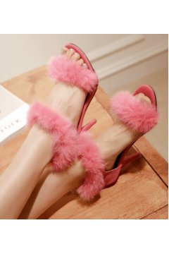 ​Suede Rabbit Fur Furry Eskimo Straps High Heels Stiletto Sandals Shoes