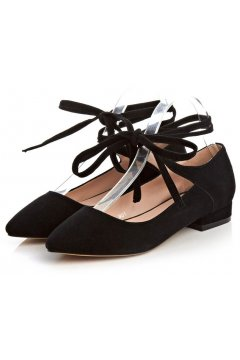 ​Point Head Suede Black Strings Straps Warp Gladiator Ballet Flats Ballerina Shoes