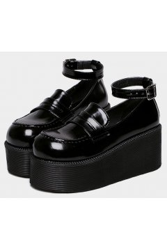 Black Leather Baroque Punk Rock Gothic Chunky Platforms Creepers Shoes