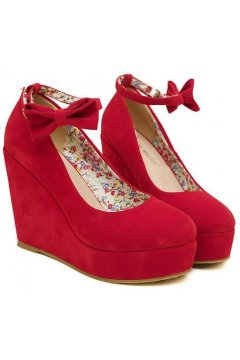 ​Red Suede Leather Bow Wedges Round Head Platforms Flats
