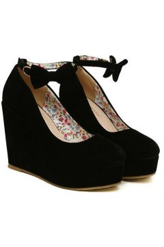 ​Black Suede Leather Bow Wedges Round Head Platforms Flats