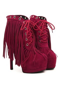 Suede Long Fringes Burgundy Lace Up Platforms Ankle Stiletto Heels Boots Shoes