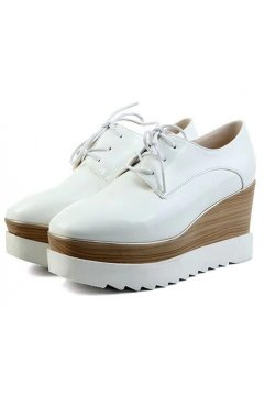 ​White Leather Vintage Old School Blunt Head Lace Up Wedges Platforms Oxfords Shoes