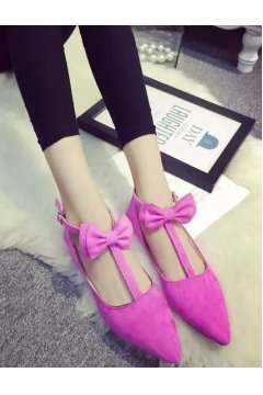 ​Point Head Suede Pink Bow T Straps Ballet Flats Ballerina Shoes