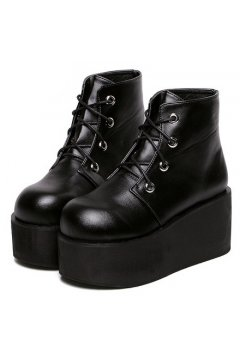 ​Black Leather Lace Up High Top Punk Rock Gothic Chunky Platforms Creepers Boots Shoes